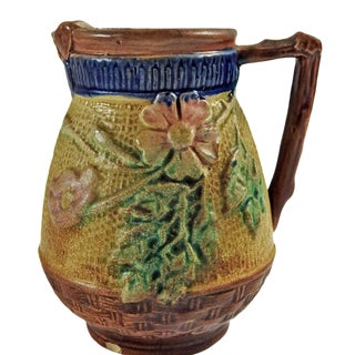 Antique Majolica Creamer with Roses