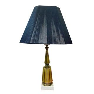 Retro Mid-Century Modern Brass Lamp on Marble Base