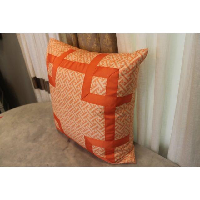 Orange Greek Key Pillow - Image 3 of 6