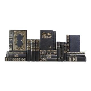 Gilt on Black Vintage Book Set, S/20