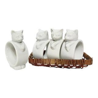 Vintage Porcelain Cat Napkin Rings - Set of 4
