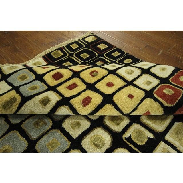 Image of New Black Modern Wool & Silk Ikat Rug - 8'x10'