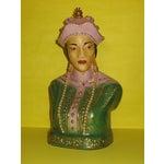 Image of Vintage Oriental Porcelain Boy Girl Busts - A Pair