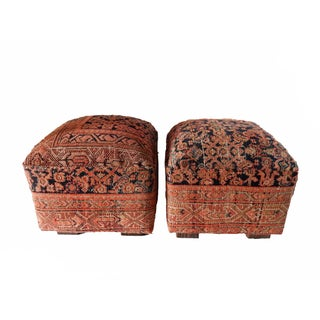 Antique Malayer Rug Upholstered Ottomans- A Pair