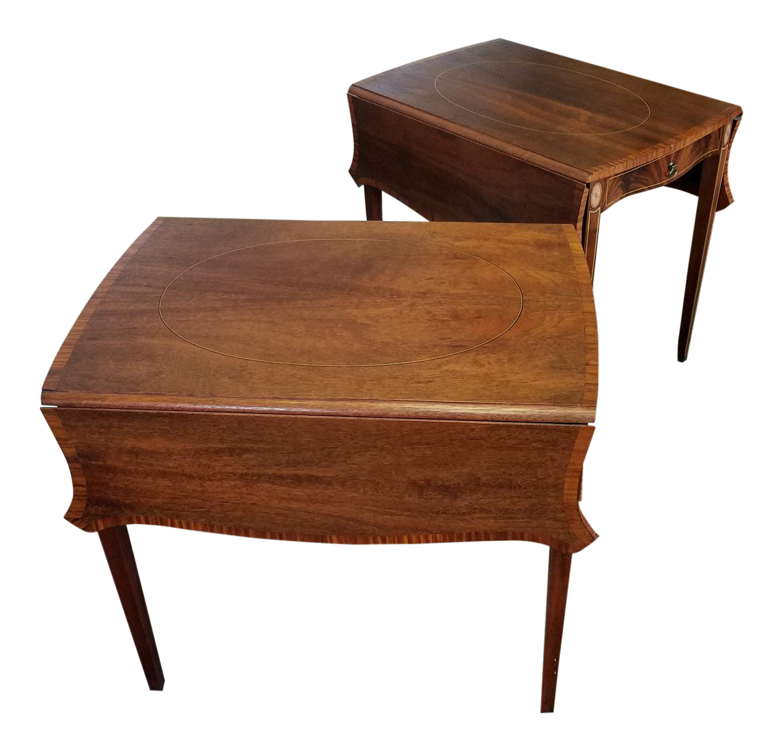 Pair Inlaid U0026 Banded Mahogany American Federal Hepplewhite Style Pembroke  Drop Leaf Tables C1950