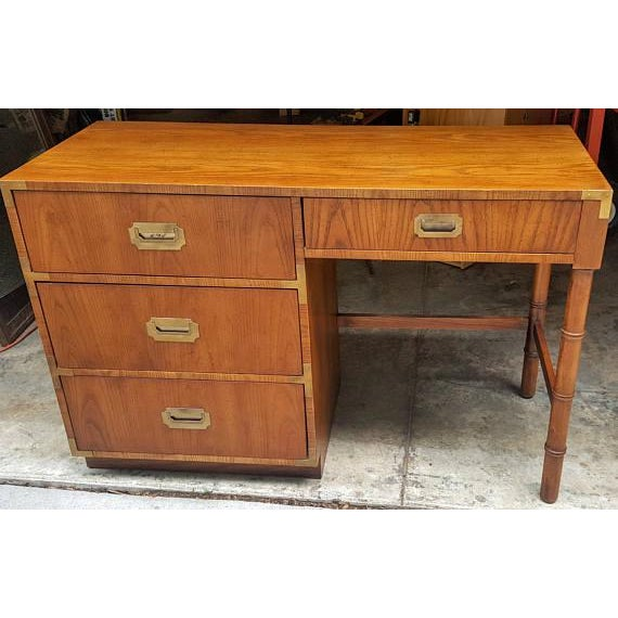Mid-Century Dixie Campaign Style Desk - Image 4 of 7