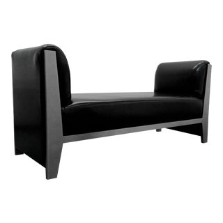 Solid Steel and Leather Bench by Yves Saint Laurent