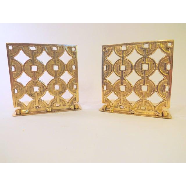 Vintage Art Deco Geometric Brass Shelf Bookends - Image 2 of 4