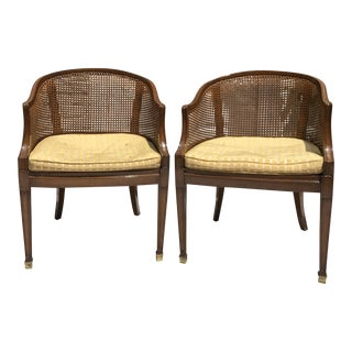 Mid-Century Neoclassical Caned Armchairs - A Pair