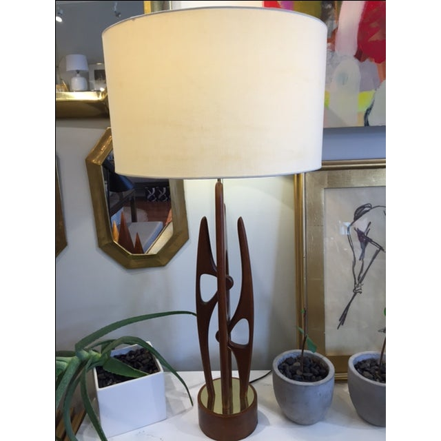 Mid Century Modern Walnut & Brass Table Lamp - Image 3 of 5