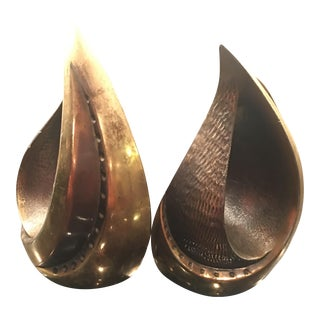 Ben Seibel Brass Flame Bookends - A Pair