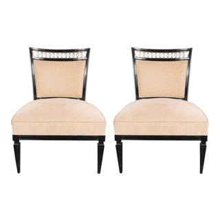 Pair of Mid-Century Slipper Chairs in Ebonized Walnut with Brass Detailing