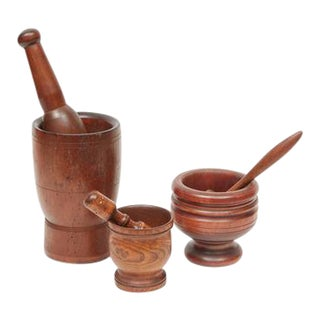 Wooden Motars & Pestles - Set of 3