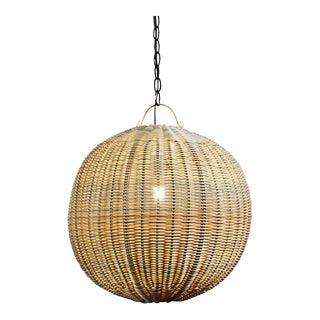 Off-White Faux Rattan Globe Lantern