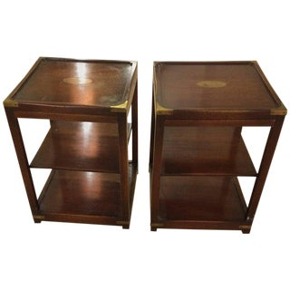 Campaign 3-Tier Mahogany & Brass Side Tables - A Pair