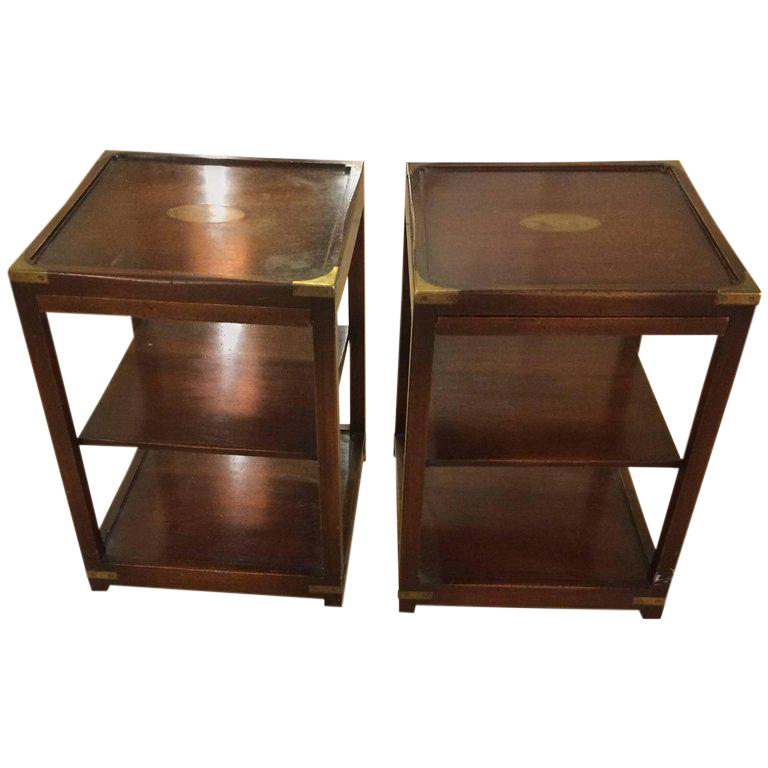 Campaign 3 Tier Mahogany U0026 Brass Side Tables   A Pair