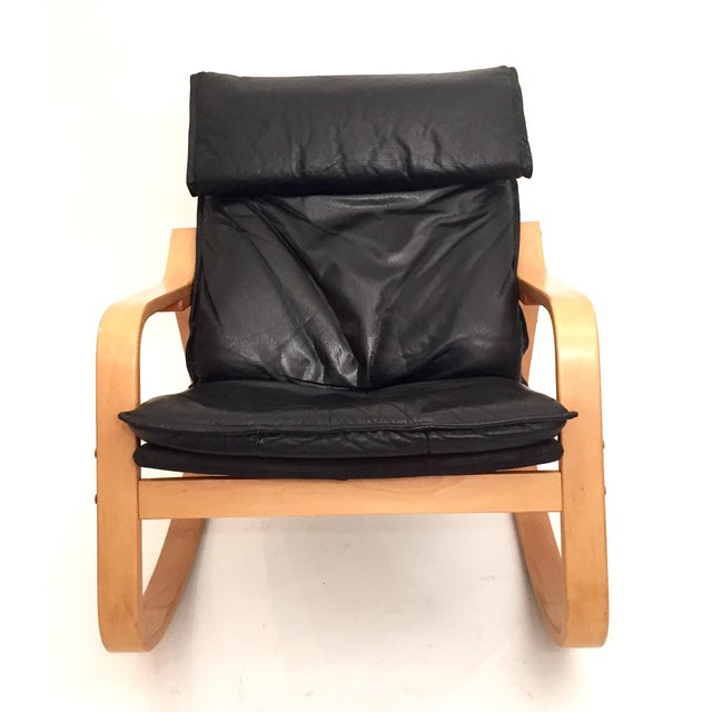 Danish Modern Black Leather Rocker - Image 3 of 4