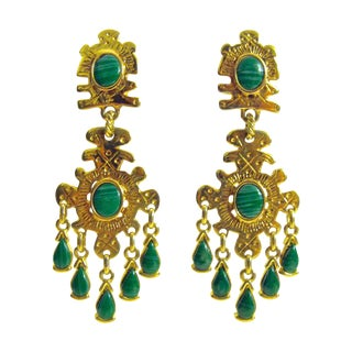 Gold Plated Emerald Drop Earrings
