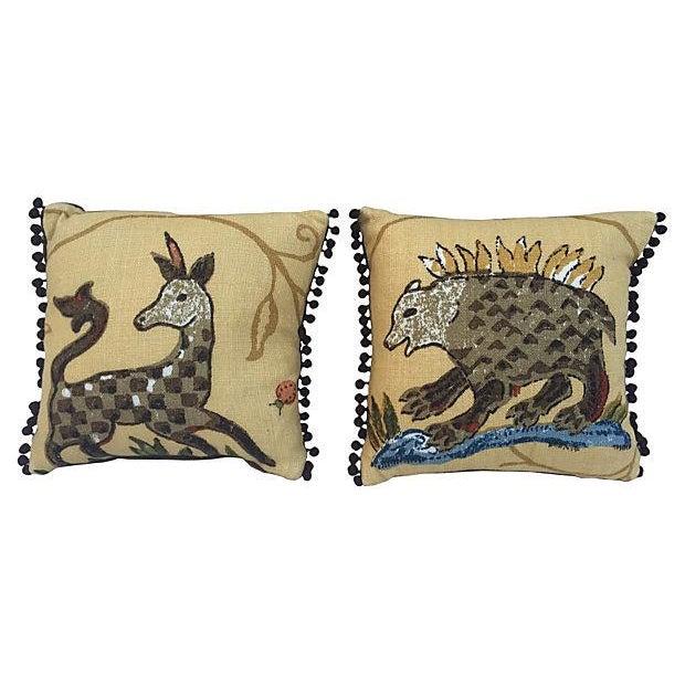 La Menagerie Animal Motif Pillows - A Pair - Image 1 of 4
