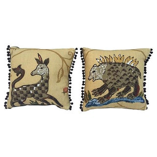 La Menagerie Animal Motif Pillows - A Pair