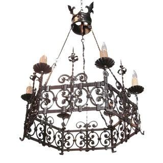 19th Century French Gothic Six-Light Black Iron Chandelier
