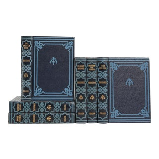 Embellished Art Deco Blue Classic Books - Set of 6