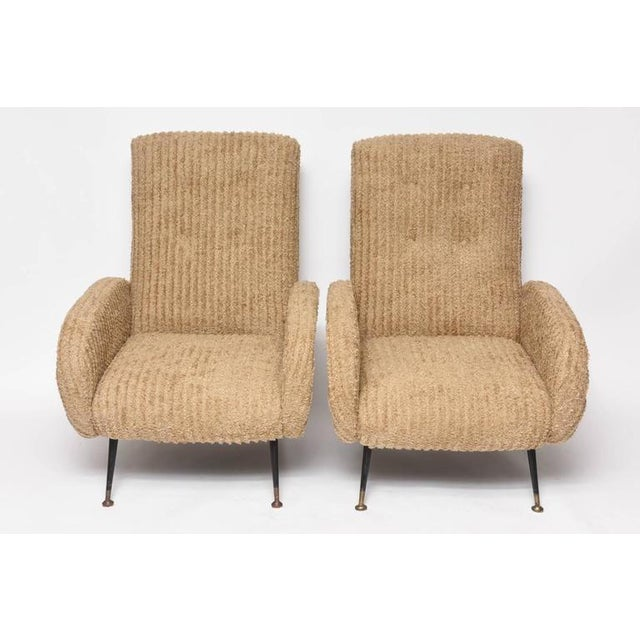 Mid-Century Italian Lounge Chairs with Original Metal and Brass Legs - Image 2 of 10