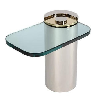 """1980 KARL SPRINGER """"SCULPTURE"""" TABLE IN POLISHED NICKEL AND BRASS"""