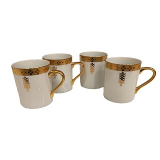 Tiffany White Porcelain Gold Rim Imperial Mugs - Set of 4