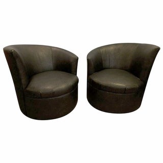 Vladimir Kagan Style Swivel Club Chairs - A Pair
