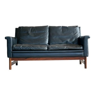 Swedish Love Seat in Black Leather and Rosewood by Scapa of Sweden