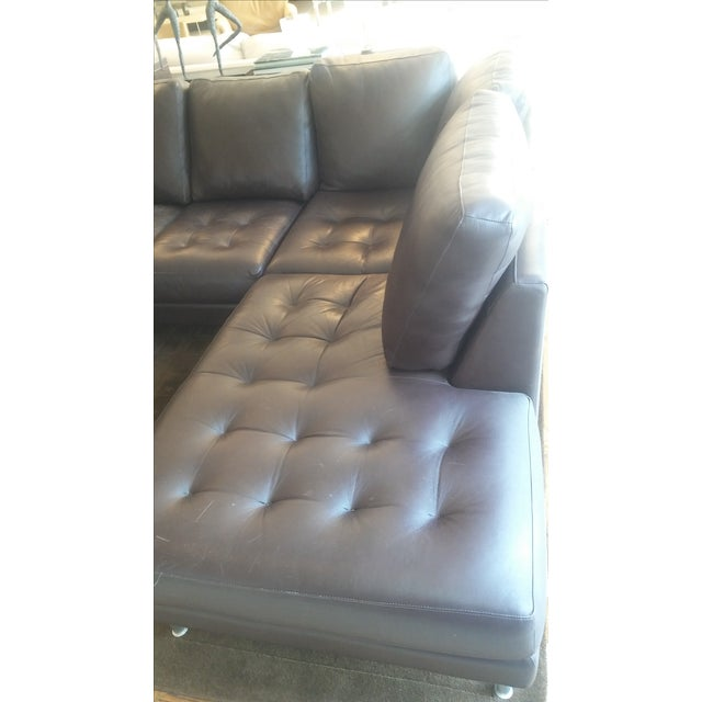 Image of Tufted Dark Brown Leather Sectional
