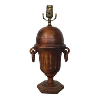 Vintage Carved Wood Table Lamp