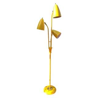 Yellow Mid Century Modern Bullet Floor Lamp