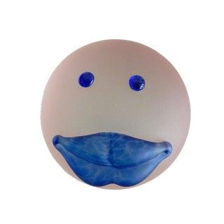 Borowski Studio Line Blue Lips Glass Paperweight