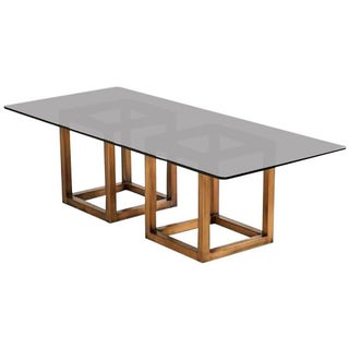 Milo Baughman Double Bronze Base Dining Table