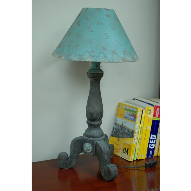 Rustic Metal Rose Turquoise Table Lamp - Image 2 of 5