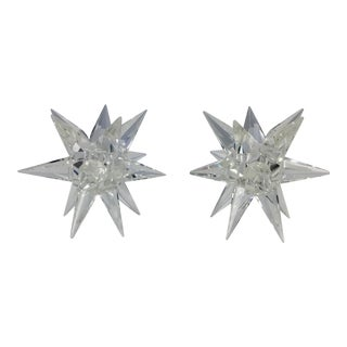 Rosenthal Crystal Vintage Star Candle Holders - A Pair