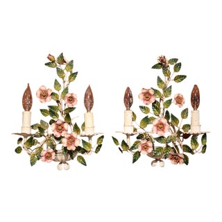 Early 20th Century French Hand-Painted Metal Sconces With Flowers - A Pair