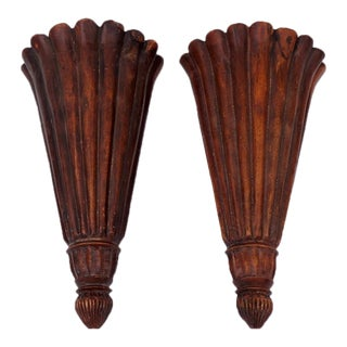 Neoclassical Wooden Wall Lights - A Pair