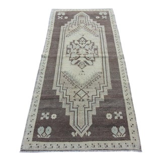 "Vintage Turkish Oushak Hand-Knotted Rug - 2'7"" x 7'1"""