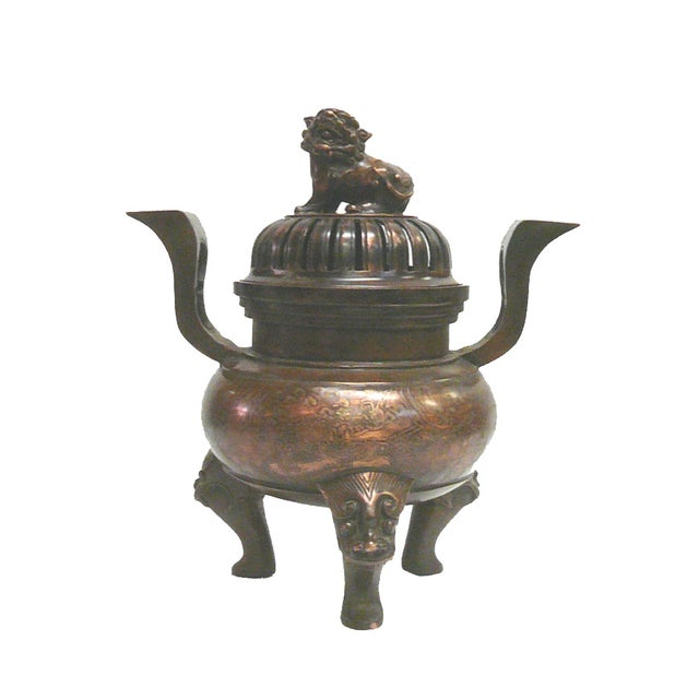 Chinese Bronze Foo Dogs Graphic Incense Burner - Image 1 of 7