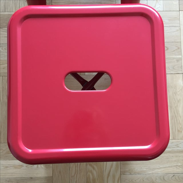 Industrial Red Metal Counter Stools- Set of 4 - Image 4 of 4