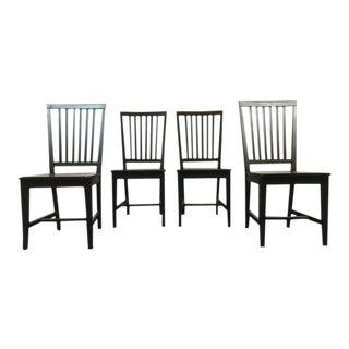 Italian Black Slatted Side Chairs - Set of 4