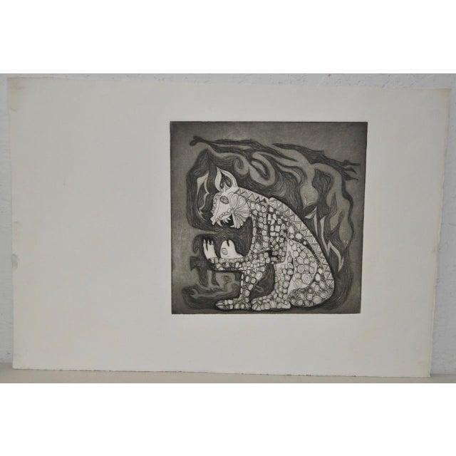 Arnold Grossman Symbolic Shamanistic Etching - Image 2 of 6