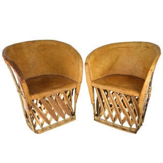 Vintage Rustic Leather Chairs - S/2