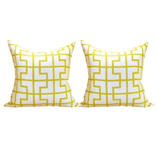 Schumacher Bleecker Fabric Pillows - A Pair