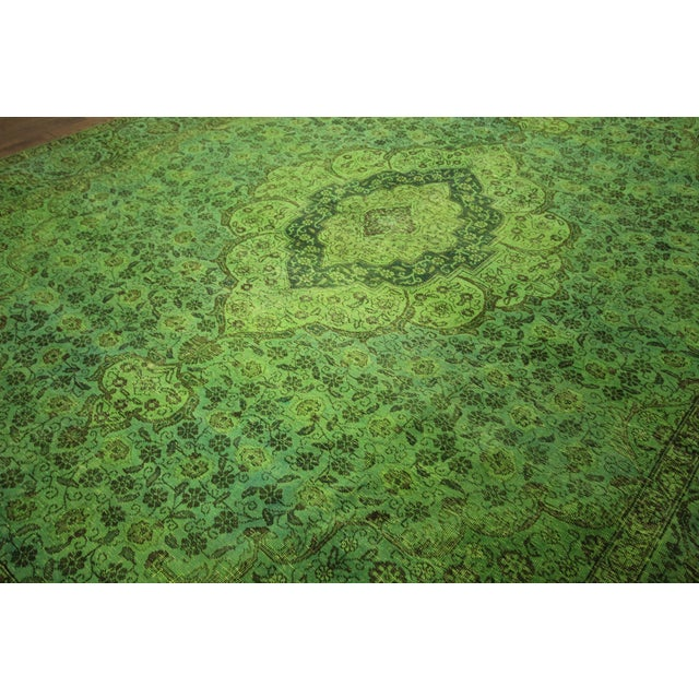 """Lime Green Overdyed Tabriz Area Rug - 9'5"""" x 12' - Image 4 of 10"""
