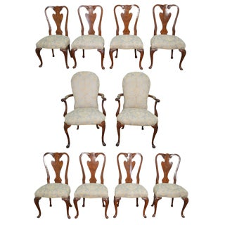John Widdicomb Set of 10 Walnut Queen Anne Dining Chairs