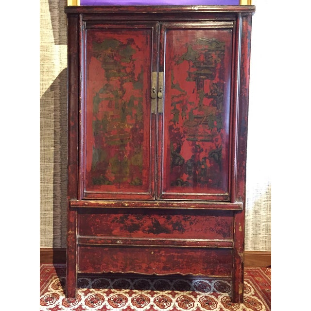 Image of Antique Chinese Painted Wood Cabinet